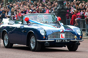Royal wedding- William and Kate in Charles Aston Martin