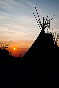 Glastonbury Tipi at Sunset