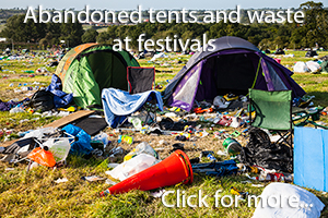 Abandoned tents and waste left at Glastonbury Festival